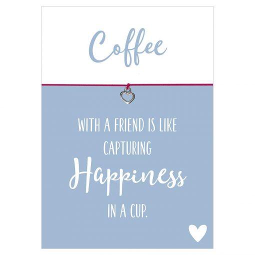 Armband Coffee with a friend in den Farben schwarz und pink mit einem Herz Anhänger in silber