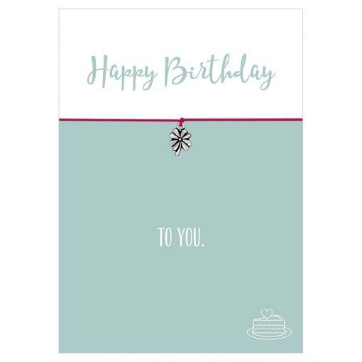 Armband Happy Birthday in den Farben schwarz und pink mit einem Klee Anhänger in silber