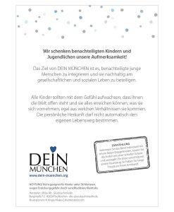Rückseite Armband Glaub an dich mit Empfehlung, Text und Dein München Logo