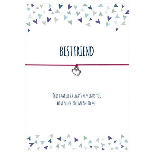 Armband Best friend in den Farben schwarz, türkis und pink mit einem Herz Anhänger in silber