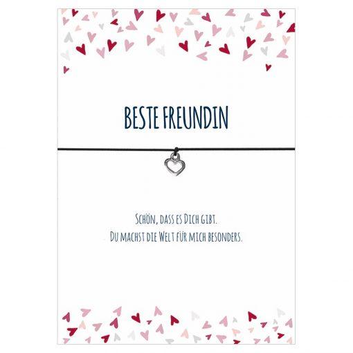 Armband Beste Freundin in den Farben schwarz und pink mit einem Herz Anhänger in silber