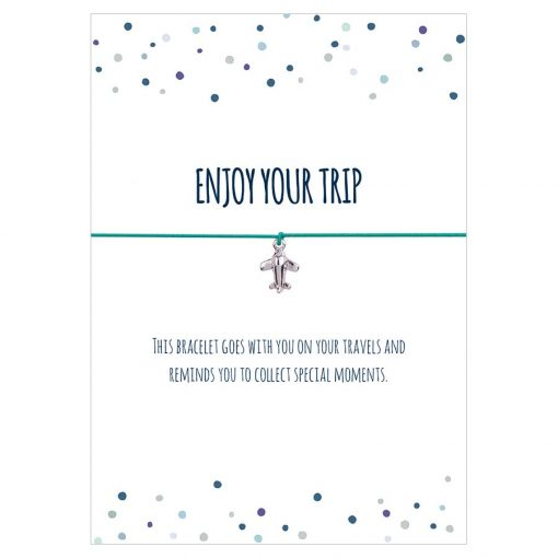 Armband Enjoy your trip in den Farben schwarz, türkis und pink mit einem Flugzeug Anhänger in silber
