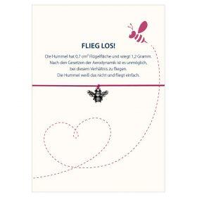 Armband Flieg los in den Farben schwarz und pink mit einer Hummel in silber