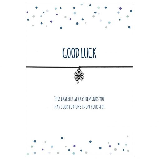 Armband Good luck in den Farben schwarz, türkis und pink mit einem Klee Anhänger in silber
