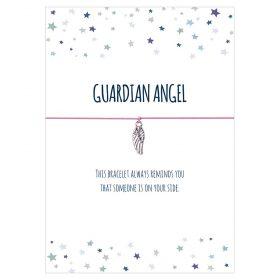 Armband Guardian Angel in den Farben schwarz, türkis pink, rosa und hellblau mit einem Flügel Anhänger in silber