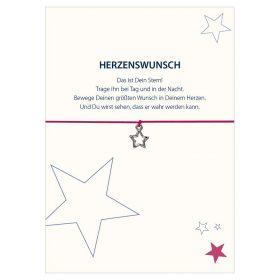Armband Herzenswunsch in der Farben schwarz und pink mit einem Stern in silber