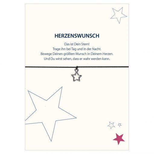 Armband Herzenswunsch in den Farben schwarz und pink mit einem Stern in silber