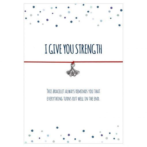 Armband I give you strength in den Farben schwarz, türkis und rot mit einem Gingko Blatt als Anhänger in silber