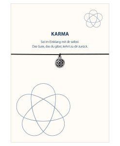 Armband Karma in den Farben schwarz und türkis mit einem Knoten Symbol in silber