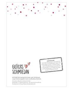 Rückseite Armband Klassik Edition mit Empfehlung und rosa Punkten