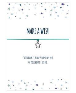 Armband Make a wish in den Farben schwarz, türkis und pink mit einem Stern als Anhänger in silber