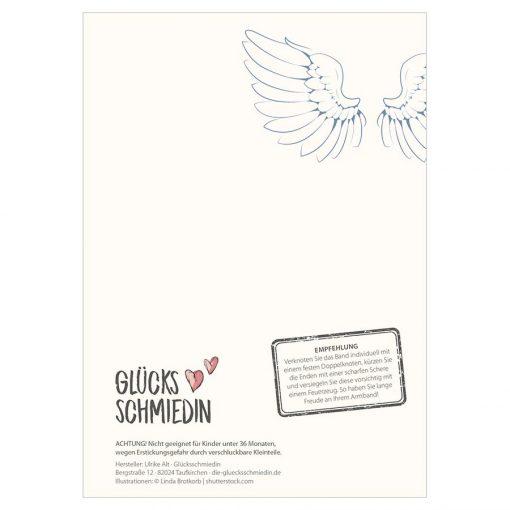 Rückseite Armband Seelenflug mit Empfehlung und Engelsflügeln