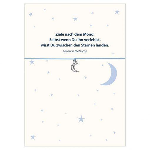Armband Ziele nach dem Mond in den Farben schwarz und hellblau mit einem Mond in silber