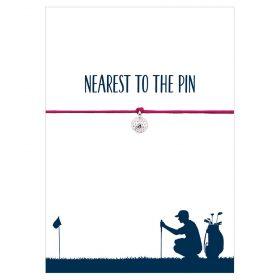 Armband Nearest to the pin von Hentzen in der Farbe pink mit einem Golfball als Anhänger in silber