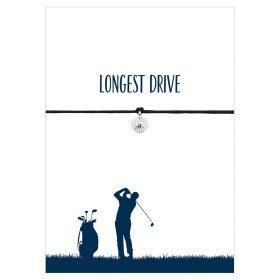 Armband Longest Drive von Hentzen in der Farbe schwarz mit einem Golfball als Anhänger in silber