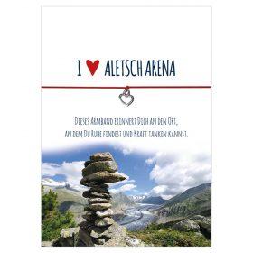 Armband I love Aletsch Arena in der Farbe rot mit einem Herz als Anhänger in silber