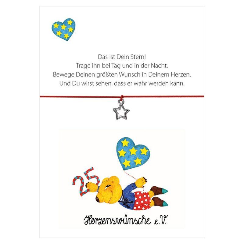 Armband Herzenswünsche in der Farbe pink mit einem Stern als Anhänger in silber