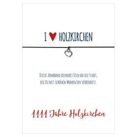Armband I love Holzkirchen in der Farbe schwarz mit einem Herz als Anhänger in silber