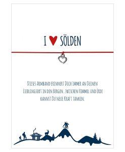 Armband I love Sölden in den Farben schwarz und rot mit einem Herz in silber als Anhänger
