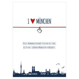 Armband I love München in den Farben schwarz und rot mit einem Herz in silber als Anhänger