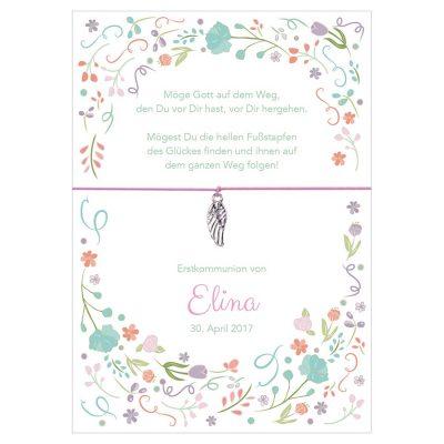 Armband zur Kommunion von Elina in der Farbe rosa mit einem Flügel als Anhänger in silber
