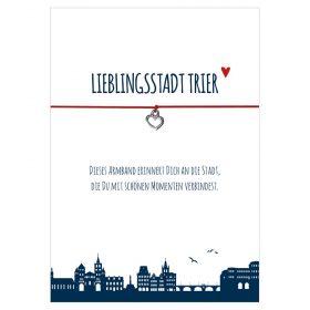 Armband Lieblingsstadt Trier der Farbe rot mit einem Herz als Anhänger in silber