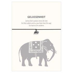 Armband Gelassenheit vom Schloss Elmau in der Farbe schwarz mit einem Elefant als Anhänger in silber