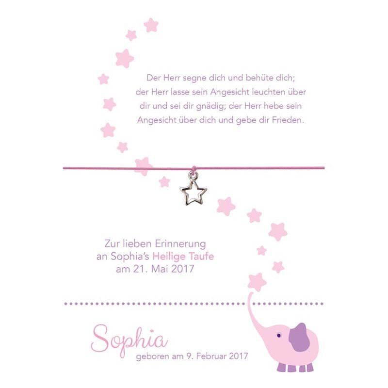 Armband zur Taufe von Sophia in der Farbe rosa mit einem Stern als Anhänger in silber
