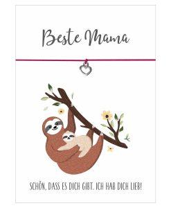 Armband Faultier Beste Mama in den Farben schwarz und pink mit einem Herz Anhänger in silber