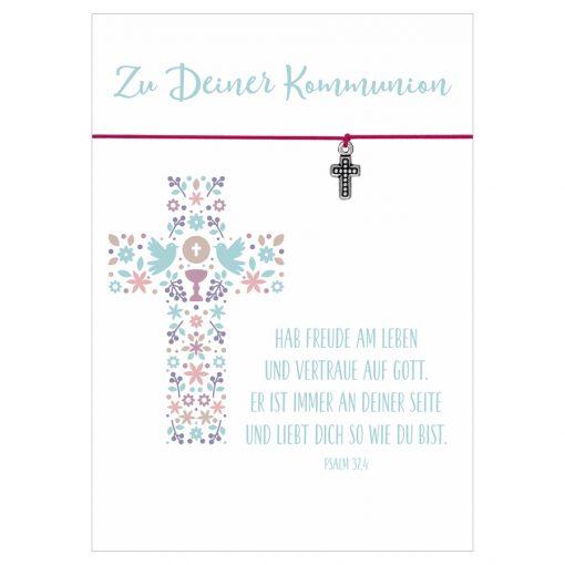 Armband Zu deiner Kommunion Freude am Leben in den Farben türkis und pink mit einem Kreuz als Anhänger in silber