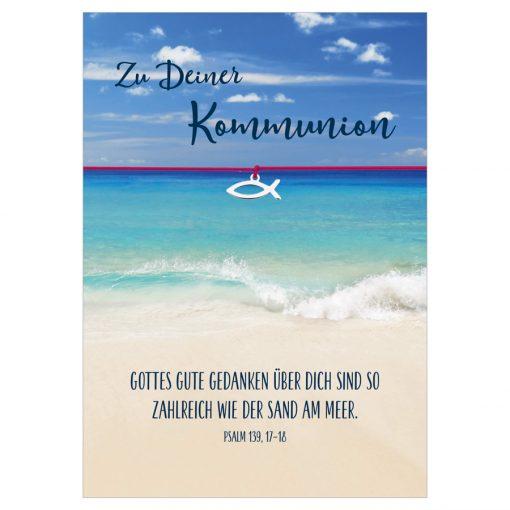 Armband Zu deiner Kommunion Gute Gedanken in den Farben türkis und pink mit einem Christlichen Fisch als Anhänger in silber