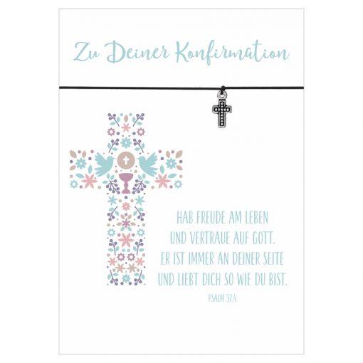 Armband Zu deiner Konfirmation Freude am Leben in den Farben schwarz und pink mit einem Kreuz als Anhänger in silber