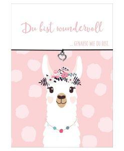 Armband Lama Du bist wundervoll in den Farben schwarz und pink mit einem Herz Anhänger in silber
