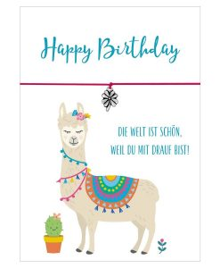 Armband Lama Happy Birthday in den Farben schwarz und pink mit einem Kleeblatt als Anhänger in silber