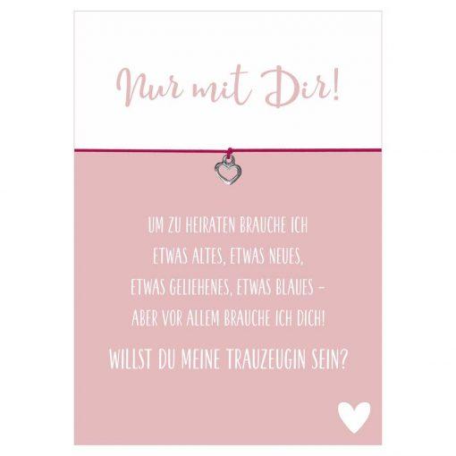 Armband Nur mit Dir! in den Farben schwarz und pink mit einem Herz als Anhänger in silber
