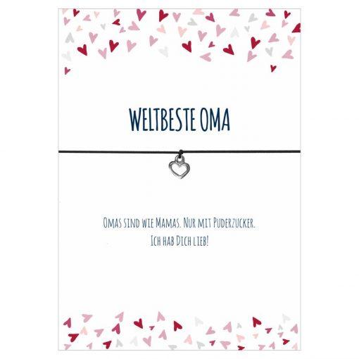 Armband Weltbeste Oma in den Farben schwarz und pink mit einem Herz Anhänger in silber