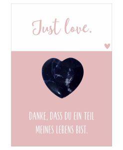 Handschmeichler Just Love mit Herz blau aus Halbedelstein Sodalith