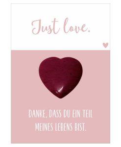Handschmeichler Just Love mit Herz rot aus Halbedelstein Rhodonit