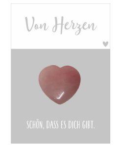 Handschmeichler Von Herzen mit Herz rosa aus Halbedelstein Rosenquarz