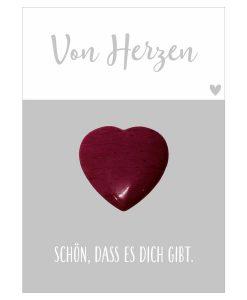 Handschmeichler Von Herzen mit Herz rot aus Halbedelstein Rhodonit