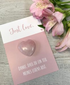 Handschmeichler Just Love mit Herz rosa aus Halbedelstein Rosenquarz